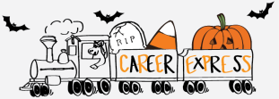 Halloween version of branding for career office hours.